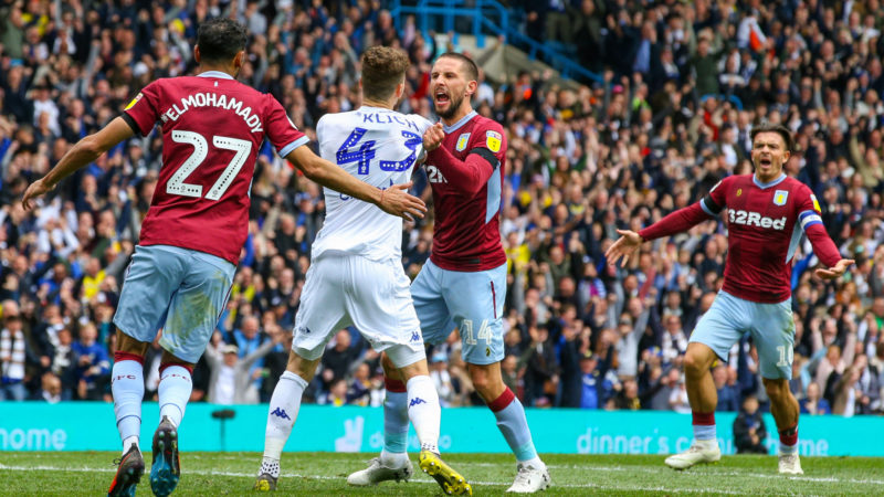LEEDS, ENGLAND - APRIL 28: Angry scenes between both sets of players after Mateusz Klich scored the opening goal during the Sky Bet Championship match between Leeds United and Aston Villa at Elland Road on April 28, 2019 in Leeds, England. (Photo by Alex Dodd - CameraSport via Getty Images)