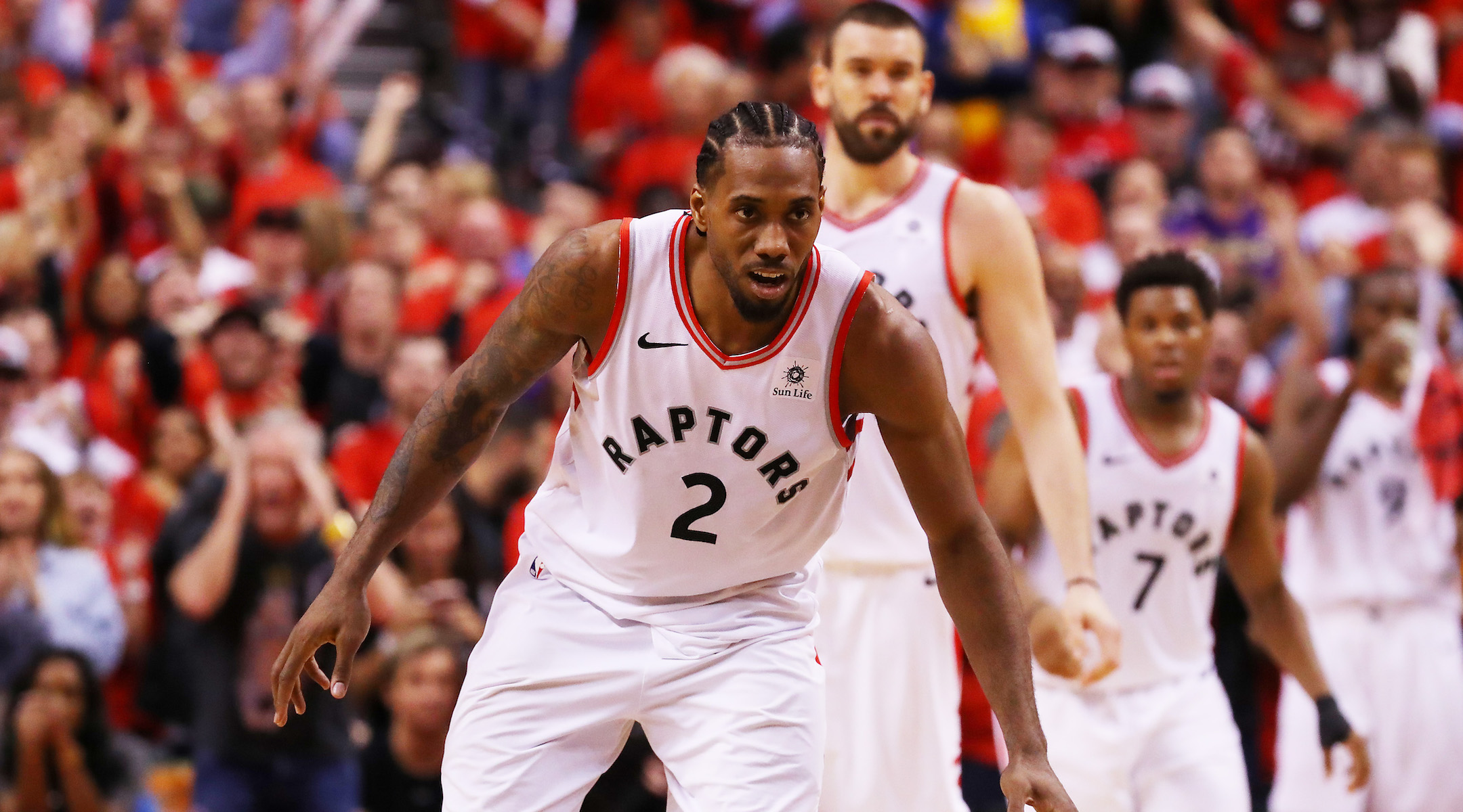 TORONTO, ONTARIO - JUNE 10: Kawhi Leonard #2 of the Toronto Raptors reacts against the Golden State Warriors in the second half during Game Five of the 2019 NBA Finals at Scotiabank Arena on June 10, 2019 in Toronto, Canada. NOTE TO USER: User expressly acknowledges and agrees that, by downloading and or using this photograph, User is consenting to the terms and conditions of the Getty Images License Agreement. (Photo by Gregory Shamus/Getty Images)