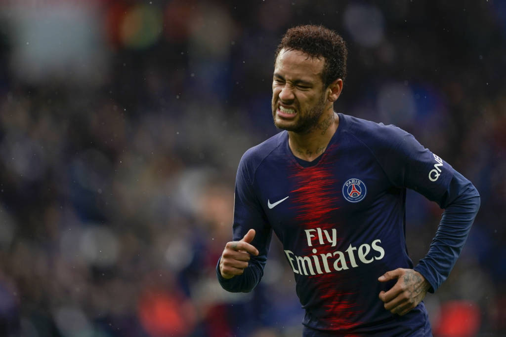 Paris Saint-Germain's Brazilian forward Neymar reacts during the French L1 football match between Paris Saint-Germain (PSG) and OGC Nice at the Parc des Princes stadium in Paris on May 4, 2019. (Photo by Lionel BONAVENTURE / AFP)
