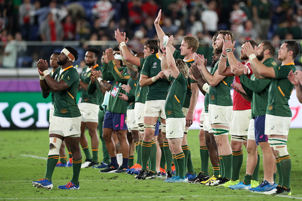 YOKOHAMA, JAPAN - OCTOBER 27: South Africa players acknowledge the crowd after the Rugby World Cup 2019 Semi-Final match between Wales and South Africa at International Stadium Yokohama on October 27, 2019 in Yokohama, Kanagawa, Japan. (Photo by Craig Mercer/MB Media/Getty Images)