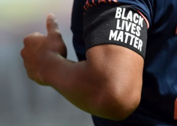 LEVERKUSEN, GERMANY - JUNE 06: Serge Gnabry of Muenchen wears an armlet reading 'Black Lives Matter' during the Bundesliga match between Bayer 04 Leverkusen and FC Bayern Muenchen at BayArena on June 06, 2020 in Leverkusen, Germany. (Photo by Matthias Hangst/Getty Images)