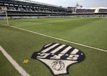 A view of the Santos FC's Vila Belmiro stadium where Costa Rica's 2014 World Cup team will train during the World Cup in Santos, Brazil, Wednesday, Feb. 12, 2014. (AP Photo/Andre Penner)
