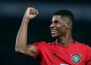 LONDON, ENGLAND - OCTOBER 30: Marcus Rashford of Manchester United celebrates after the Carabao Cup Round of 16 match between Chelsea FC and Manchester United at Stamford Bridge on October 30, 2019 in London, England. (Photo by Matthew Peters/Manchester United via Getty Images)