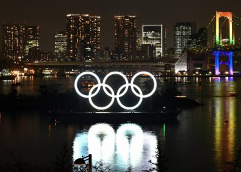 (FILES) In this file photo taken on January 24, 2020 the Olympic rings are displayed off the shore of the Odaiba Marine Park during the Tokyo 2020 Year Commemorative Ceremony in Tokyo. (Photo by Kazuhiro NOGI / AFP)