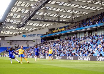 File photo dated 29-08-2020 of Brighton and Hove Albion fans adhering to social distancing measures in the stands watching the action on the pitch during the pre-season friendly at the AMEX Stadium in Brighton. PA Photo. Issue date: Sunday August 30, 2020. Premier League chief executive Richard Masters has hailed the test event for the partial return of supporters as a success following Brighton's friendly with Chelsea at the Amex Stadium. See PA Story SOCCER Premier League. Photo credit should read: Adam Davy/PA Wire