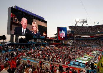 epaselect epa08995043 US President Joe Biden and First Lady Dr. Jill Biden address the National Football League Super Bowl LV between the Tampa Bay Buccaneers and the Kansas City Chiefs at Raymond James Stadium in Tampa, Florida, USA, 07 February 2021. EPA/GARY BOGDON