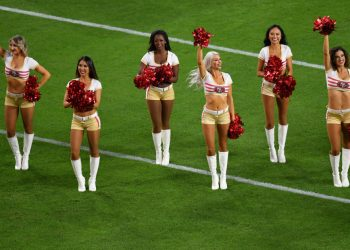 Feb 2, 2020; Miami Gardens, Florida, USA; San Francisco 49ers cheerleaders perform before Super Bowl LIV against the Kansas City Chiefs at Hard Rock Stadium. Mandatory Credit: Steve Mitchell-USA TODAY Sports