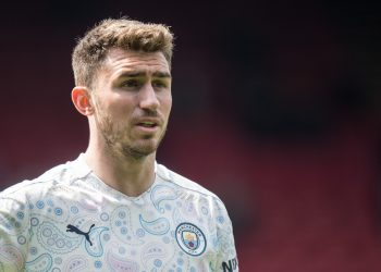 LONDON, ENGLAND - MAY 01: Aymeric Laporte of Manchester City looks on during the Premier League match between Crystal Palace and Manchester City at Selhurst Park on May 1, 2021 in London, United Kingdom. Sporting stadiums around the UK remain under strict restrictions due to the Coronavirus Pandemic as Government social distancing laws prohibit fans inside venues resulting in games being played behind closed doors. (Photo by Sebastian Frej/MB Media/Getty Images)