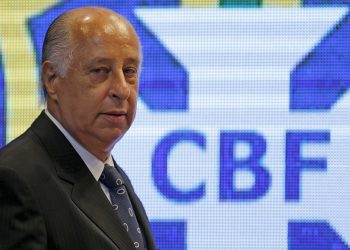 FILE PHOTO: President of Brazilian Soccer Confederation (CBF) Marco Polo Del Nero arrives for a news conference after the announcement of the players for the 2018 World Cup qualifiers, in Rio de Janeiro, Brazil, October 22, 2015. REUTERS/Sergio Moraes//File Photo